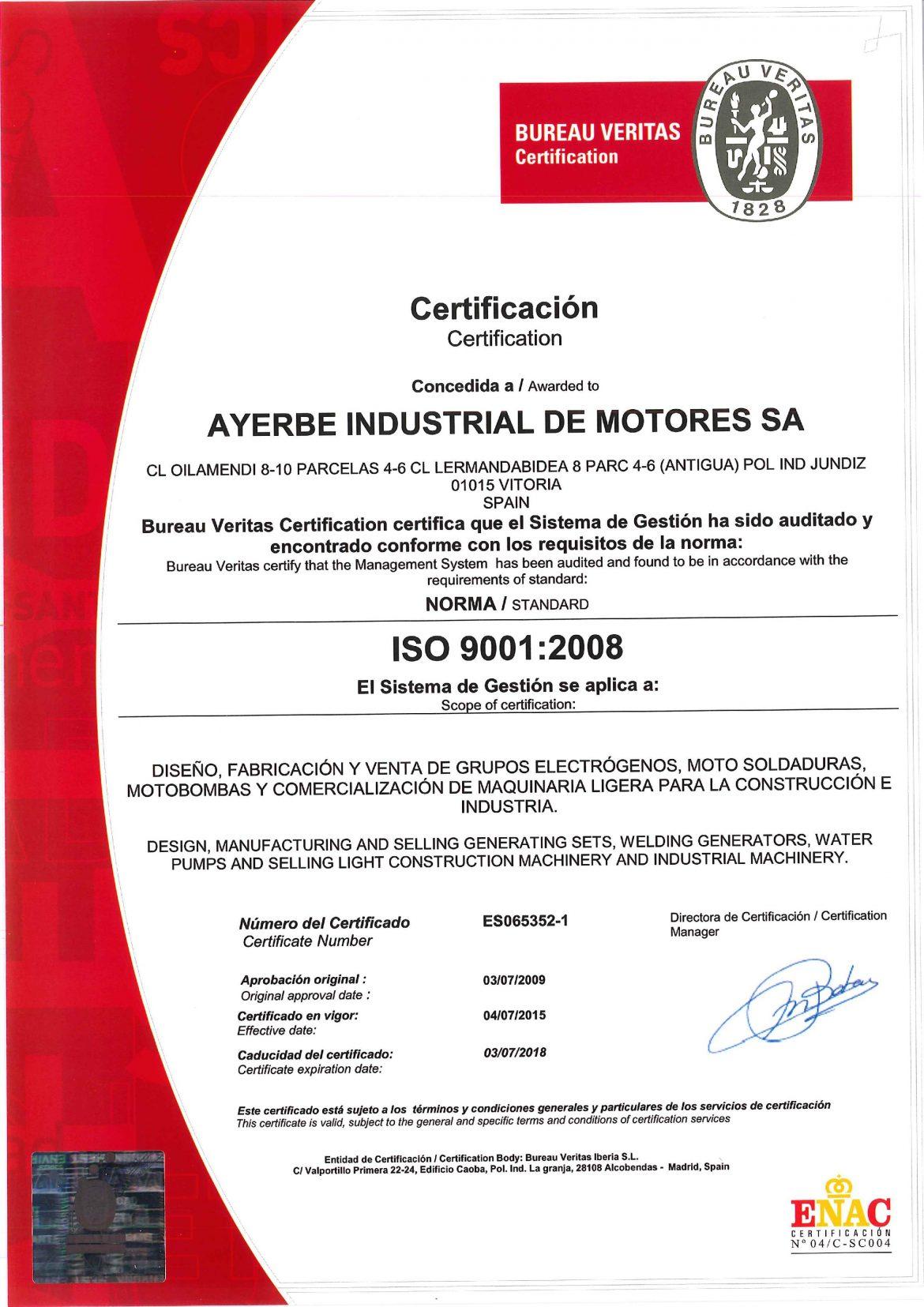 Ейч Ай Инженеринг ISO 9001:2008 Ayerbe